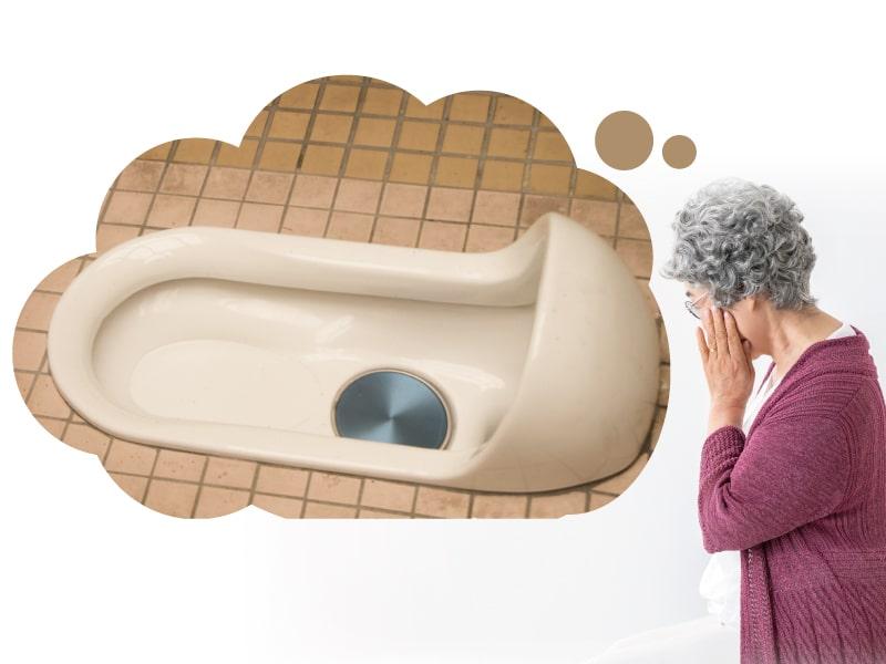 和式トイレに悩むイメージ