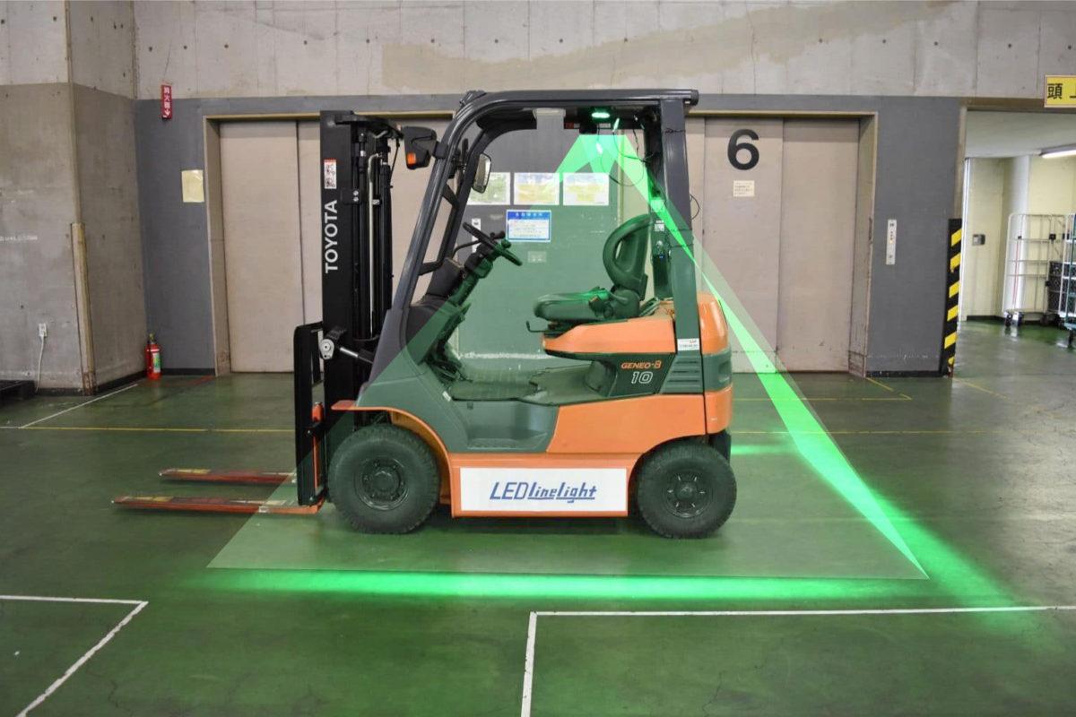 フォークリフトの接触事故防止にLEDラインライト