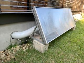 工場や倉庫の湿気による結露、防カビ対策、寒さ・省エネ対策に最適な太陽熱暖房&換気システム「ソーラーウォーマー」の設置イメージ