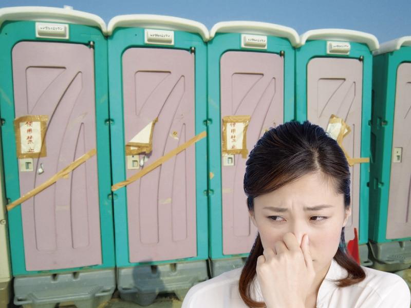 使用できなくなった仮設トイレ