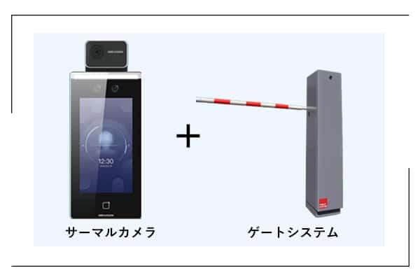 「検温安全ゲート」のサーマルカメラとゲートシステム画像